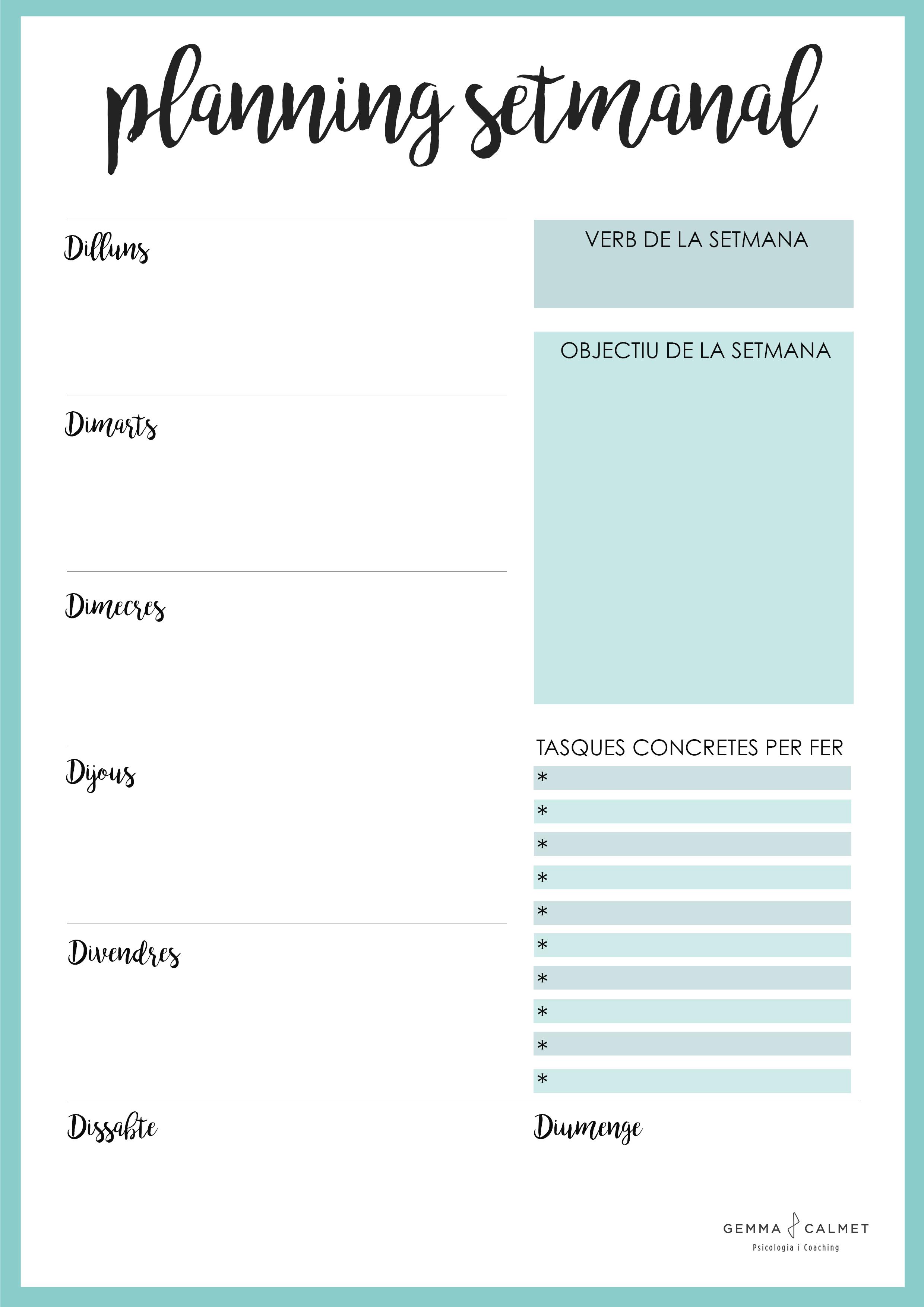 model planning setmanal